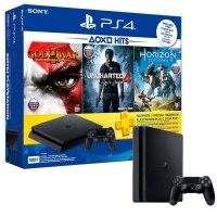 Игровая консоль PlayStation 4 Slim 500Gb + Horizon:ZeroDawn + GodOfWar 3 + Uncharted 4 + PS Plus 3 мес. (CUH-2108A)>